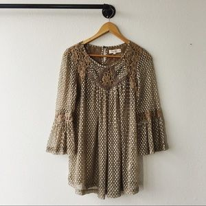 Altar'd State Crochet Bell Sleeve Top Boho Size L